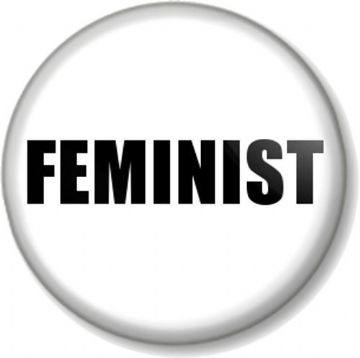 "FEMINIST 1"" Pin Button Badge Feminism Women's Rights Equality Activist - White"
